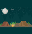 Camping in forest at night flat design style