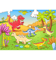 cartoon dinosaur background vector image vector image