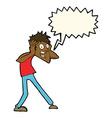 cartoon man panicking with speech bubble vector image vector image