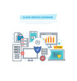 cloud service database computing network data vector image