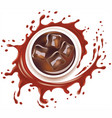 cola drink with ice cubes and splash with drops vector image vector image