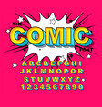 comic alphabet retro pink letters numbers for vector image vector image