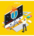 Computer Virus Isometric People vector image vector image