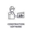 construction software line icon sign vector image