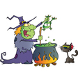 Crazy Witch With Black Cat Holding A Frog vector image