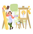 creative people man woman character working vector image vector image