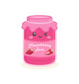 cute strawberry jelly jam bottle jar cartoon vector image