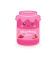 cute strawberry jelly jam bottle jar cartoon vector image vector image