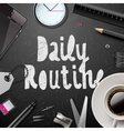 Daily routine modern office supplies vector image vector image