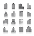 Edifice buildings icons set vector image