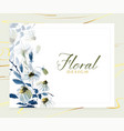 elegant watercolor blue floral card design vector image vector image
