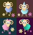 funny sheeps cartoon collection vector image vector image