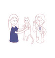 girl bring cat to meet vet vector image vector image