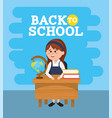 girl student in the desk with books and global map vector image vector image