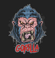 gorilla angry face artwork vector image vector image