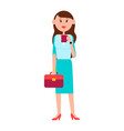 grown-up girl with briefcase and cup of coffee vector image vector image