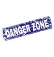 grunge danger zone framed rounded rectangle stamp vector image vector image