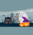 halloween forest with castle pumpkins and full vector image vector image