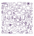 halloween hand drawn elements vector image vector image