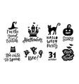 halloween set of handwritten ink lettering vector image