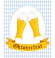 hand drawn oktoberfest poster with two flat beer vector image vector image