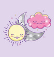 happy sun with moon and cute fluffy cloud vector image