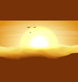 hot yellow and orange empty desert panoramic vector image