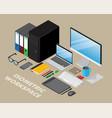 isometric workspace vector image