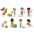 kids gardening set cartoon garden work collection vector image vector image