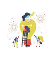lightbulb and workers vector image
