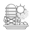 line water tank with trees and sun vector image vector image
