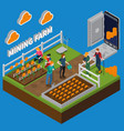 mining farm isometric composition vector image vector image