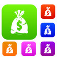 money bag with us dollar sign set color collection vector image vector image