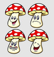 mushroom emoticon icon cartoon character vector image vector image