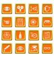 ophthalmologist icons set orange square vector image vector image