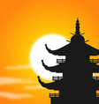 pagoda silhouette at dusk vector image