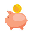 piggy bank and gold coin flat vector image vector image
