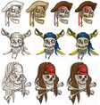 Pirates - Pirate skulls collection hand drawings vector image vector image