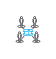 production line workers linear icon concept vector image vector image