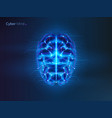 robot or cyber brain human mind with circuit vector image vector image