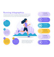 running infographics woman running with city vector image