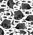 seamless fish silhouettes pattern vector image vector image