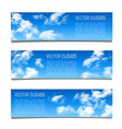 set of banners with blue sky and realistic vector image