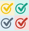 set of check mark in round box 4 button icon vec vector image