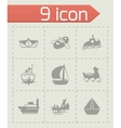ship and boat icon set vector image vector image