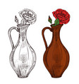 sketch wine jug with red roses vector image