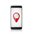 smartphone with map pointer on screen vector image vector image