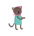 smiling brown cat wearing dress pink handkerchief vector image vector image