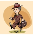 Smiling retro businessman goes to work vector image vector image