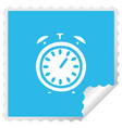 square peeling sticker cartoon alarm clock vector image vector image